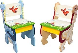 Fantasy Fields - Dinosaur Kingdom Thematic Kids Wooden 2 Chairs Set  Imagination Inspiring Hand Crafted & Hand Painted Details   Non-Toxic, Lead Free Water-based Paint