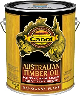 Cabot 140.0003459.007 Australian Timber Oil Stain, Gallon, Mahogany Flame