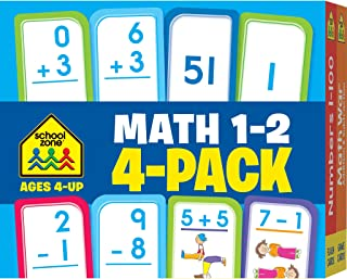 School Zone - Math 1-2 Flash Cards 4 Pack - Ages 4 and Up, 1st Grade, 2nd Grade, Addition, Subtraction, Numbers 1-100, and More (Flash Card 4-pk)