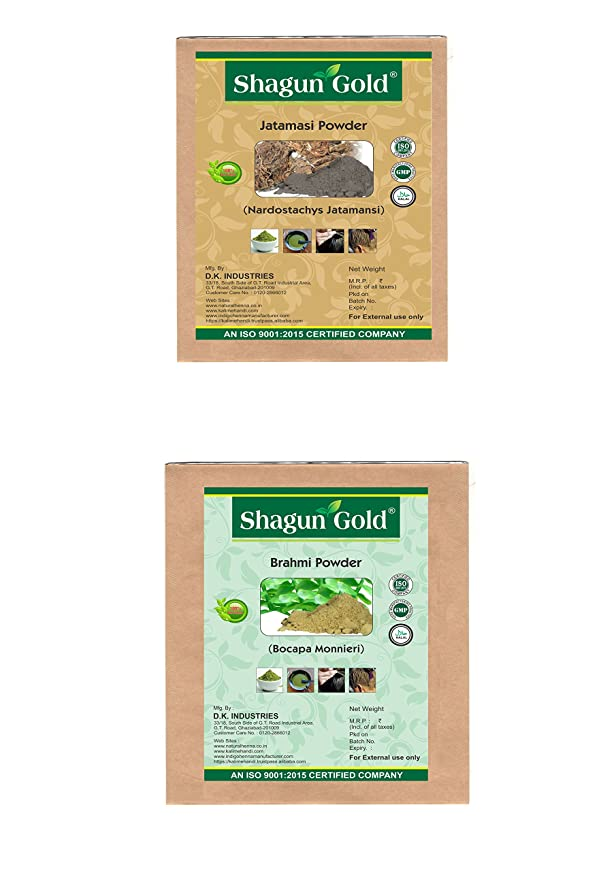 失効重力征服者Shagun Gold A 100% Natural ( Bacopa Monnieri )/( Nardostachys Jatamansi ) Brahmi Powder And Jatamasi Powder For Hair Certified By Gmp / Halal / ISO-9001-2015 No Ammonia, No PPD, Chemical Free 7 Oz / ( 1 / 2 lb ) / 200g