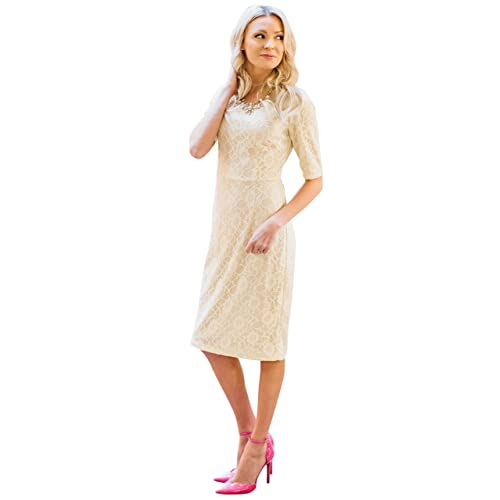 7777abbc4a5ed Mikarose June Modest Pencil Dress In Lace