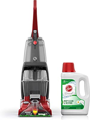Hoover Power Scrub Deluxe Carpet Cleaner Machine with Renewal Carpet Cleaning Solution (64oz), FH50150, AH30924