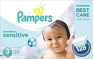 Diapers Size 3, 128 Count - Pampers Swaddlers Sensitive Disposable Baby Diapers, Super Economy