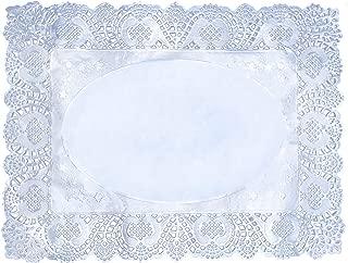 Lace Paper Doilies 100 Pcs Rectangle Silver Paper Placemats Doily Paper Pad for Cakes Crafts Party Weddings Tableware Décor 16x12 Inch(40x30cm)