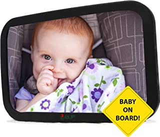 BLIP Baby Car Mirror for Rear Facing Seat, Large, Clear View of Infant, Safe, Shatterproof, Stable on Back Headrest, Durable Straps