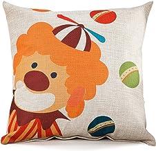 Chezmax Circus Series Cotton Linen Blend Cushion Square Decorative Throw Pillow Cover Uncle Clown