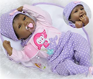 Reborn Baby Dolls African American Girl Black Baby Realistic Silicone Vinyl 22 inches Handmade Weighted Cute
