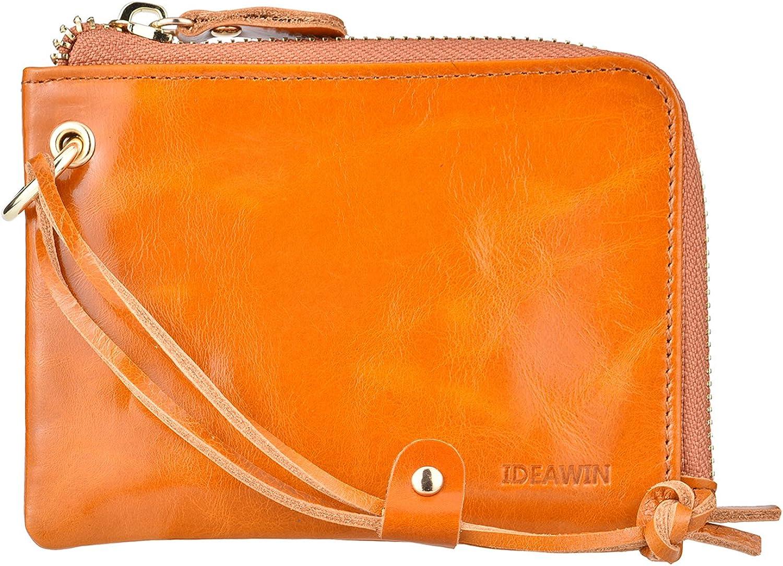 IDEAWIN Women RFID Blocking Card Wallet Slim Wristlet Zipper Wallet Gift Purse