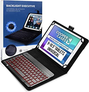Cooper Backlight Executive Keyboard Case for 9-10.5 inch tablets | Universal Fit | 2-in-1 Bluetooth Keyboard & Leather Fol...
