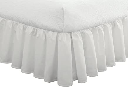 """Fresh Ideas Bedding Ruffled Bed Skirt,  Classic 14"""" drop length,  Gathered Styling,  Full,  White"""