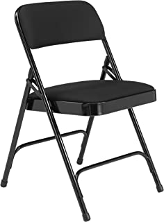 National Public Seating 2200 Series Steel Frame Upholstered Premium Fabric Seat and Back Folding Chair with Double Brace, 480 lbs Capacity, Black/Black (Carton of 4)