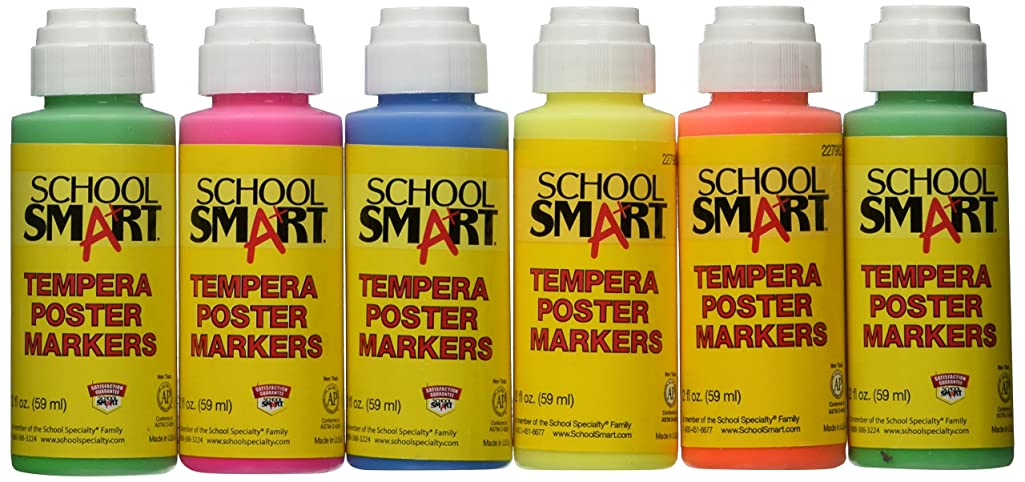 School Smart Poster Marker Tempera Paint Set with Dauber Tip, 2 oz Plastic Squeeze Bottle, Assorted Fluorescent Color, Set of 6 - 227982