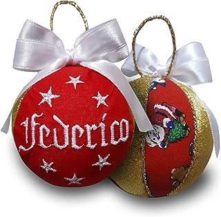 Crociedelizie, pallina di Natale personalizzata 8 cm nome ricamato decorazione natalizia personalizzabile rosso bianco e l...
