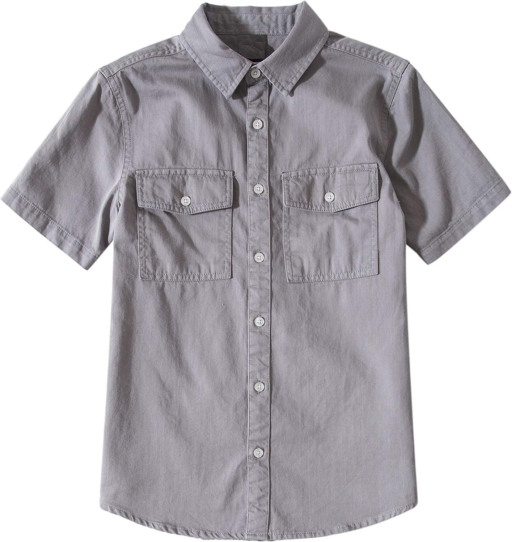 Tronjori Boys' Short Sleeve Button Down Woven Shirt: Clothing