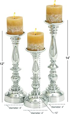 Deco 79 Aluminium Candle Holder, 14 by 12 by 10-Inch, Set of 3