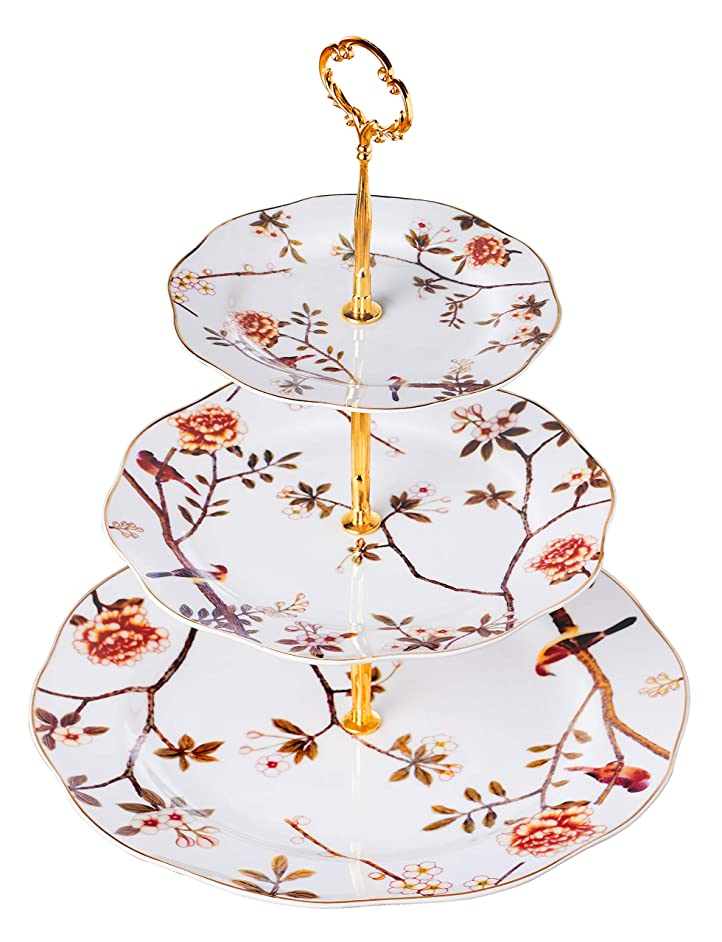 Jusalpha 3-tier Bird Tree Series Ceramic Cake Stand/Cupcake Stand/Dessert Stand/Tea Party Pastry Serving Platter/Food Display, Stand, Home Decor