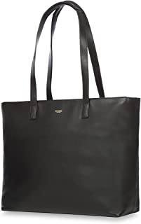 "Knomo Mayfair Luxe Maddox, 15"" Leather Laptop Tote Bag, with Device Protection, RFID Pocket and KNOMO ID, Black"