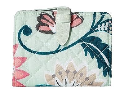 Vera Bradley Iconic RFID Small Wallet (Mint Flowers) Wallet Handbags