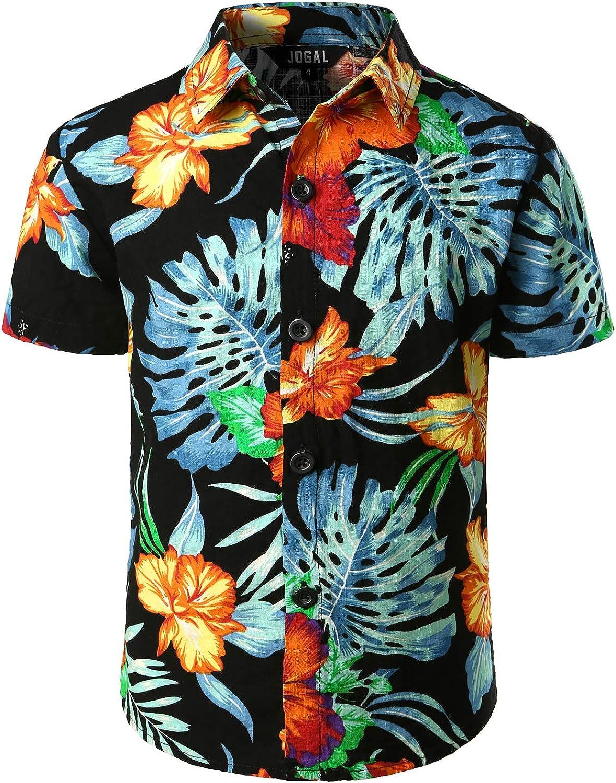 JOGAL Big Boy's Floral Casual Button Down Short Sleeve Hawaiian Shirt