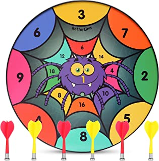 BETTERLINE Fun Themed Magnetic Dartboard Set - 16 Inch Dart Board with 6 Magnet Darts for Kids - Gift for Game Room, Carnivals and Parties