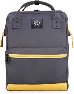 Polyester Travel Backpack Functional Anti-theft School Laptop for Women Men (Deep GreyYellow, Large)