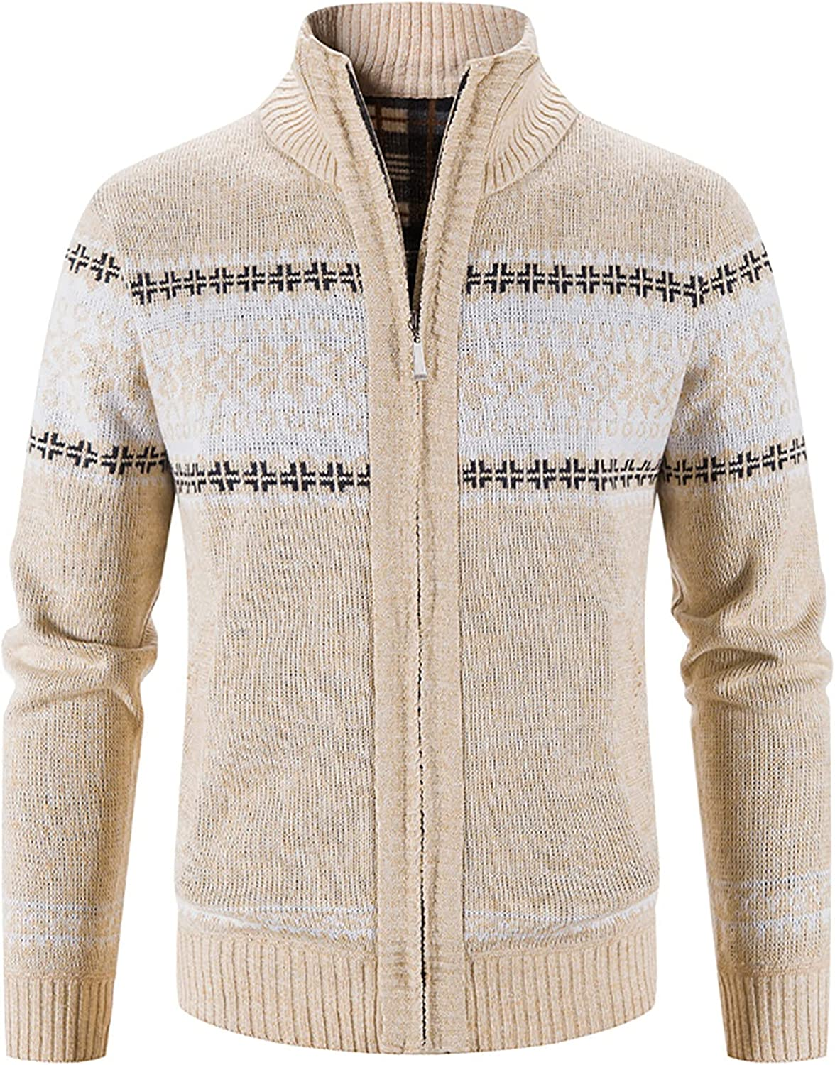 Men's Thick Sweater Cardigan - Printed Warm Fleece Lined Coat Jacket - Stand Collar Zip Up Knitted Cardigan