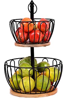 Sponsored Ad - 2 Tier Fruit Basket with Mango Wood Base, Stylish, Durable and Vegetable Storage Rack, Perfect Hanging Wire...
