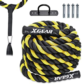 XGEAR Heavy Battle Rope with Upgraded Polyester Cover,Anchor Strap Kit Included - High Tensile Strength Poly Dacron Training Rope - Available in 1.5