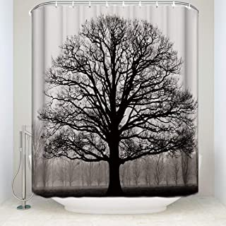 Prime Leader Durable Shower Curtain-Tree Silhouette Waterproof Bathroom Fabric Shower Curtains,72