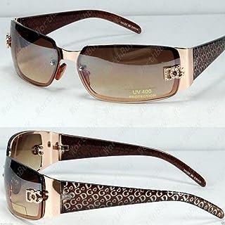 cd6042b6d641 New New DG Womens Fashion Designer Sunglasses Shades Rectangular Wrap Gold  Brown,New