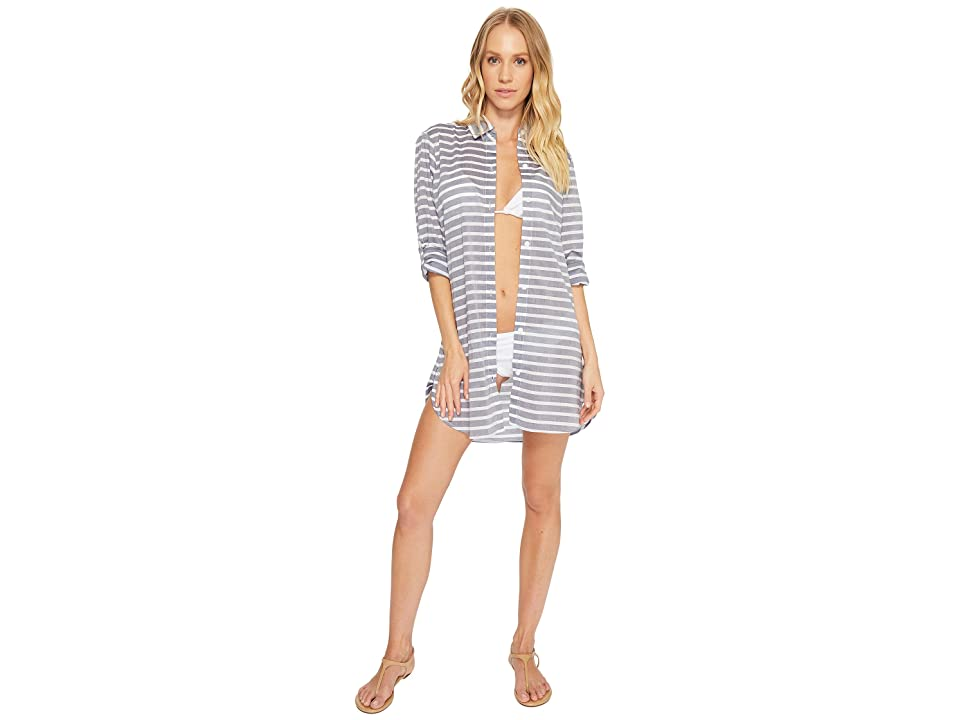 Tommy Bahama Breton Stripe Boyfriend Shirt Cover-Up (Mare Navy Heather/White) Women