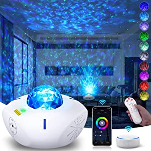 Star Light Projector for Bedroom, Star Projector Night Light with Alexa Google Assistant Galaxy 360 Pro with Bluetooth Music Speaker Ocean Wave Projector for Baby Kids Adult Gift Ceiling/ Home Docor