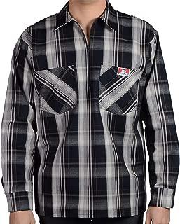 Men's Long Sleeve Plaid Half Zipper Shirt