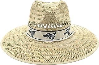JFH Group Mexican Eagle Band Wide Brim Beach Sun Straw Hat w/Chin Cord (S06 Eagle Khaki)