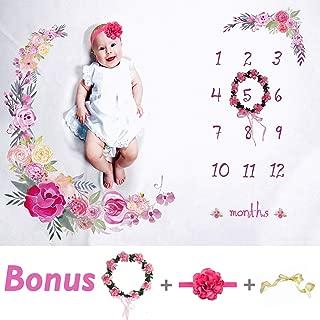 Tiny Smiles Baby Monthly Milestone Blanket Girl   Large 60