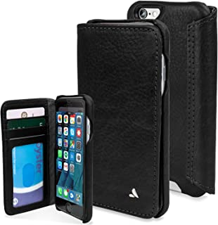 Vaja Agenda Premium Leather Case and Wallet for iPhone 6/6s - 3-Card Slot and Bill Compartment - Bridge Black