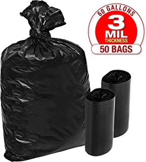 TOUGHER GOODS - 3 Mil Plastic Contractor Garbage Bags - 50 Pack Heavy Duty Black Trash and Storage Bags - 60 Gallon, Super Thick Industrial Grade for Construction, Yard Work, Commercial Use