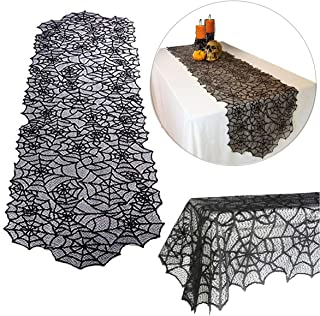 """Halloween Spider Web Table Cloth Decor Polyester Lace Table Runner Linens Cover Tablecloth Topper Decorations Home Décor Festive Dinner Party Supplies, 20"""" x 80"""""""