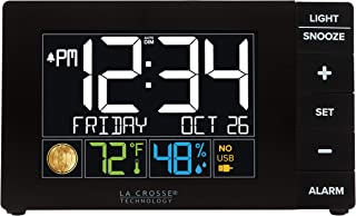 La Crosse Technology W88723 Color Alarm Clock with Temperature & Humidity with USB Port, Black