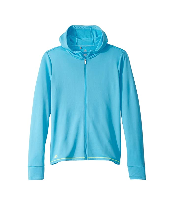 adidas Golf Kids  Novelty Full Zip Hoodie (Big Kids) (Bright Cyan) Girls Sweatshirt