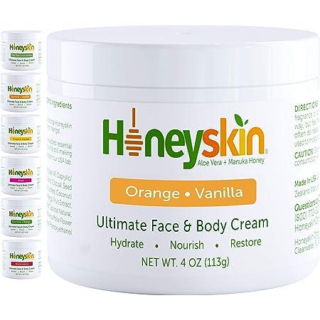 Manuka Honey Cream Face Moisturizer and Body Lotion - Eczema Honey Organic Moisturizing Cream - Dry Itchy Sensitive Skin - Face Lotion for Redness Eczema and Rosacea - Orange Vanilla Scent (4oz)