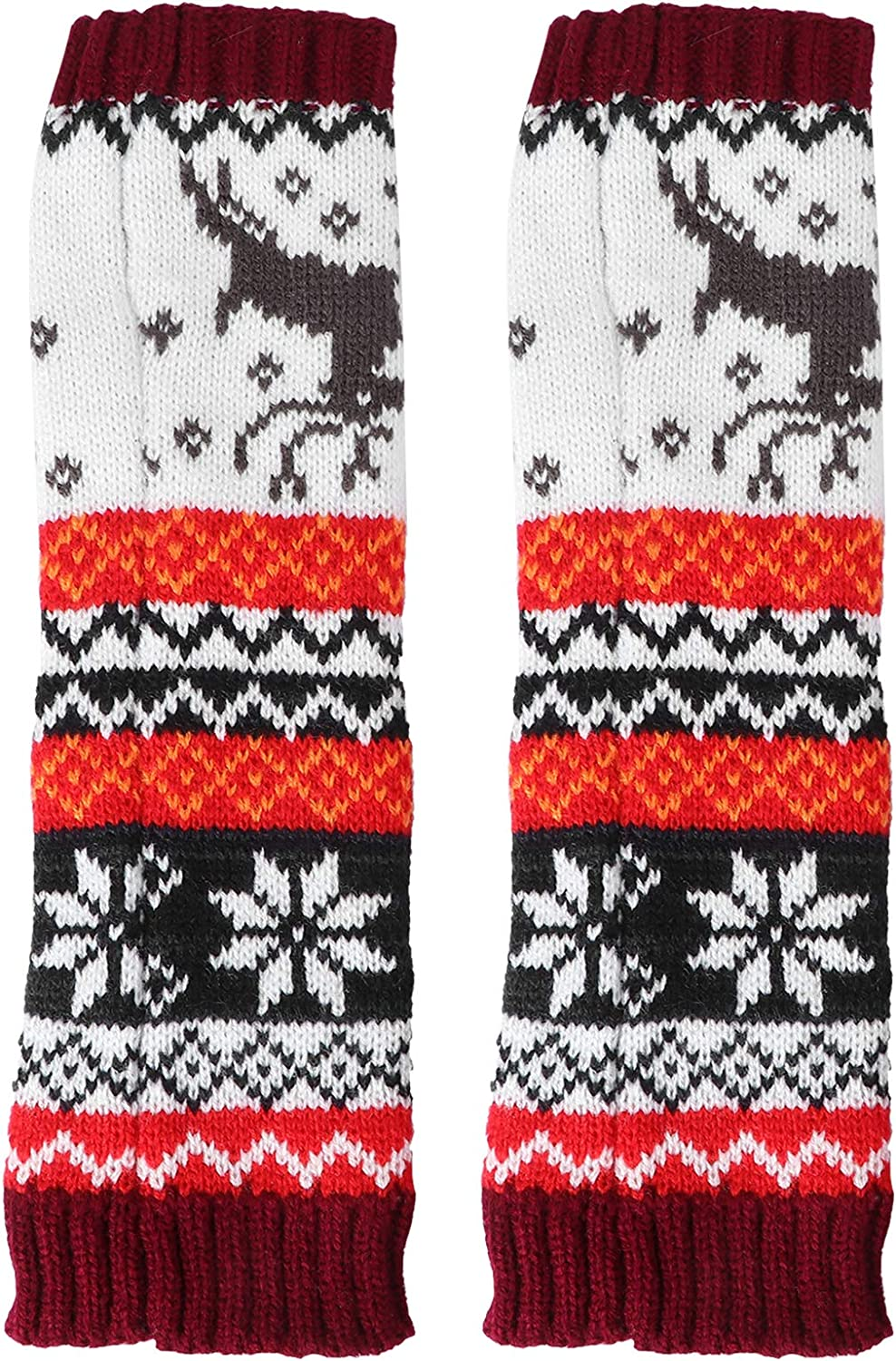 ABOOFAN 1 Pair of Knitting Glove Arm Sleeve Winter Cartoon Christmas Gloves for Lady Christmas Decoration Supplies