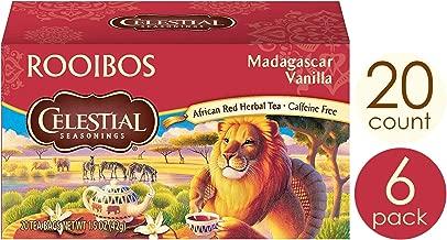 Celestial Seasonings African Red Herbal tea, Rooibos Madagascar Vanilla, 20 Count Box (Pack of 6)