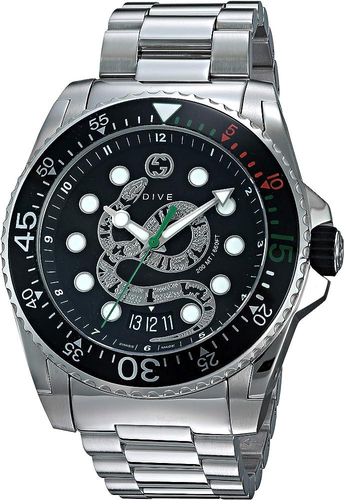 gucci orologio dive da uomo in acciaio inossidabile vetro zaffiro ya136218