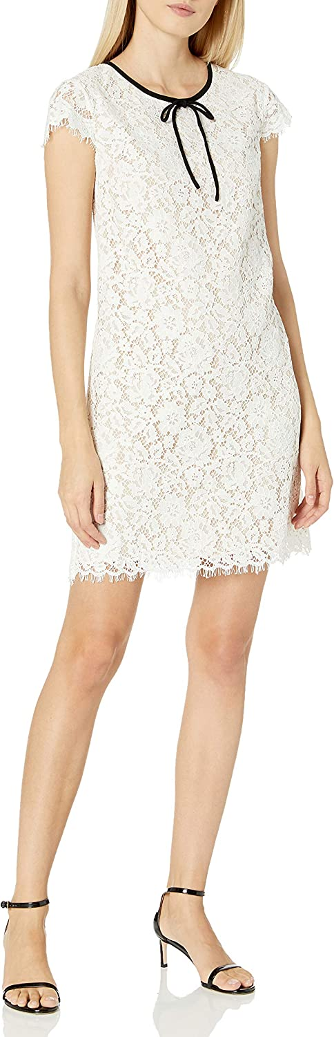 ABS Allen Schwartz Women's Lace Shift Dress with Contrast Bow at Neck