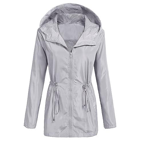 cc1c6e794fb UNibelle Women s Lightweight Waterproof Rain Jacket Active Outdoor Hooded  Raincoat Windbreaker