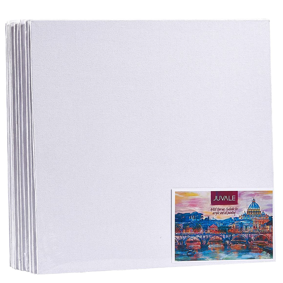 Canvas Panels - 12-Pack Canvas Boards, Acid Free Blank Canvas for School Art Supplies, Paintings, Drawings, White, 12 x 12 Inches
