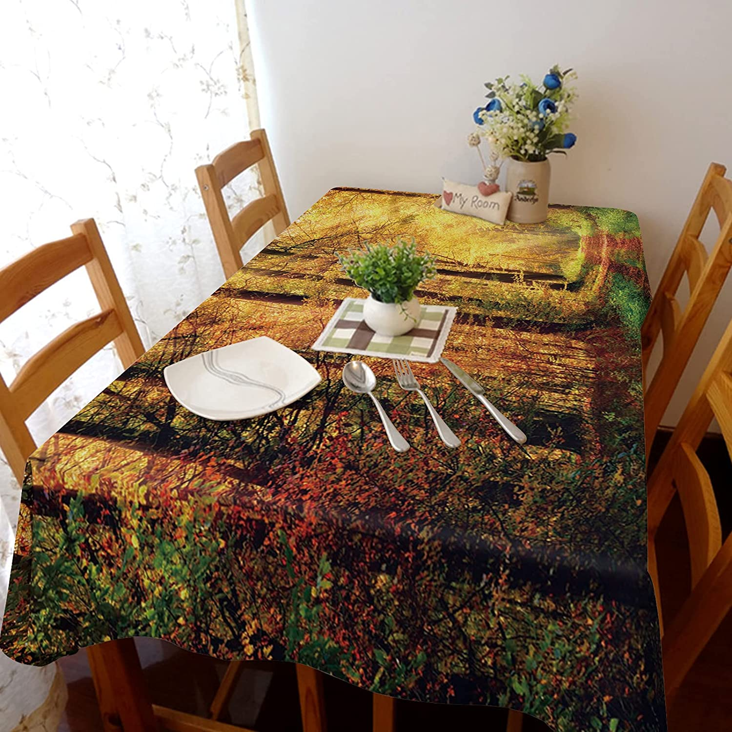 Arts Language Tablecloth Animer and price 1 year warranty revision for Rectangle Table Forest Sunshine Pat