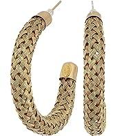 Gold Braided Tube Post Hoop Earrings