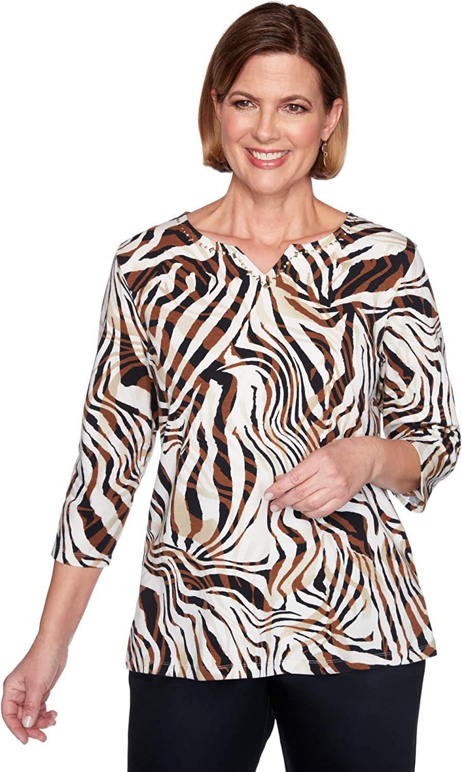 Alfred Dunner Women's Classic Zebra Knit with No Top Embellished 超激安 蔵